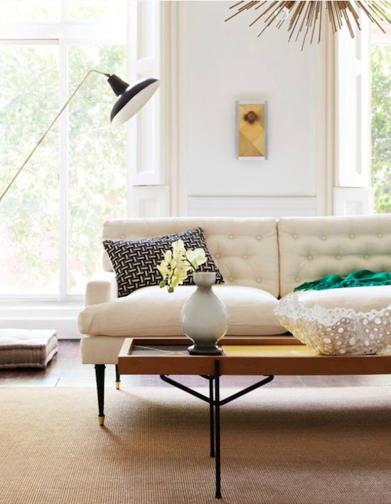 David Prince photo... Lovely living room, tufted white couch.  Love everything!