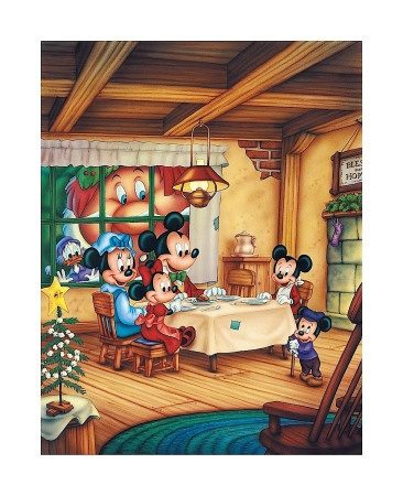 """Scrooge and the Ghost of Christmas present are looking in on Bob Cratchit in """"Mickey's Christmas Carol"""""""