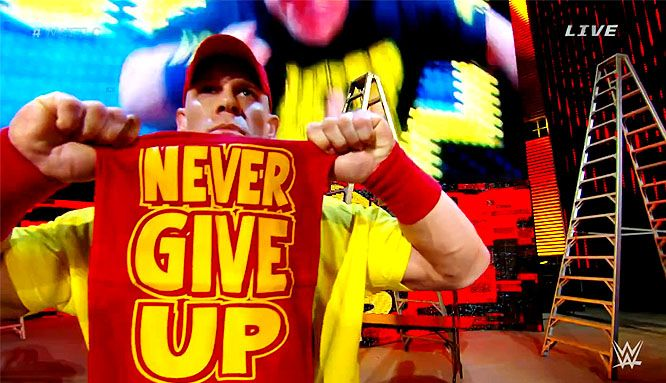 John Cena in yellow and red.