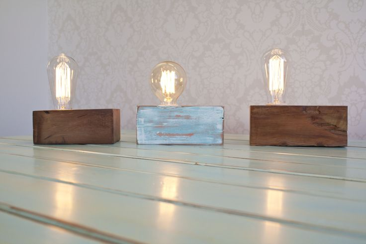 Reclaimed Rimu Block Lamps Dimensions vary. 3 kinds of blocks available and 2 kinds of vintage bulbs to choose from. See www.kcimory.co.nz for more details