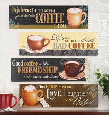 Coffee Lovers Metal Wall Decor Signs - Set of 4