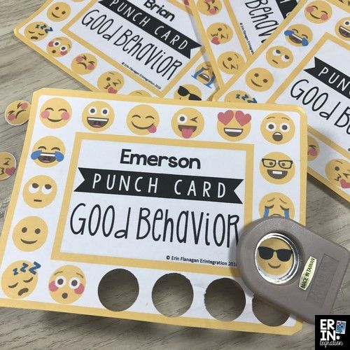 Check out this classroom management hack to make Emoji STICKER punch cards for incentives and positive reinforcement in the classroom.
