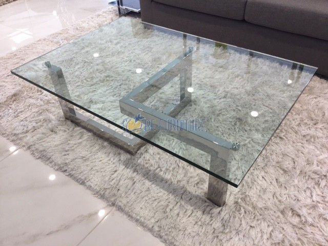 """Create+a+luxurious+statement+in+any+living+room+with+the+Fontainebleau+Coffee+Table.+It+features+a+polished+stainless+steel+frame+with+3/4""""+tempered+glass.+Its+unique+base+and+sleek+design+will+complement+any+modern+or+contemporary+room+with+lots+of+style! Item+Dimensions ItemQtyWidthDepthHeight Coffee+Table 1 54"""" 36"""" 16"""" [$1,798.00]"""