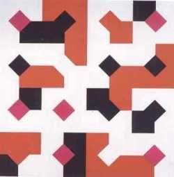 A sinistra: Campioni di tessuto a stampa, 1982 collage di tessuto, 70x70. A destra: Colori nella curva di Peano, 1974 acrilico su tela, 100x100.