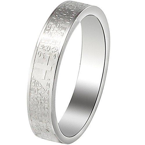 Men Jewelry - Women  Size 7  Men Womens Classic Stainless Steel English Lords Prayer Cross Ring Valentine Love Couples Bands Silver *** You can find out more details at the link of the image.