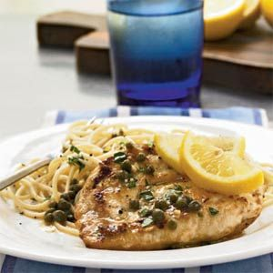 Chicken Piccata with Capers and white wine. I made this for my parents anniversary dinner. Sooooooo good! I recommend butterflying the chicken before frying it: Dinner, Chicken Recipes, Chicken Piccata, Breasts Piccata, Skinless Chicken Breasts, Food, Piccata Recipe, Capers, Favorite Recipes
