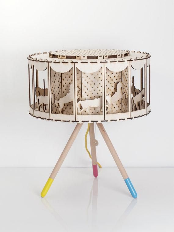 Yes, there is some assembly required for this spinning, laser-cut carousel lamp — but we think the prancing pony payoff is well worth it. #etsykids
