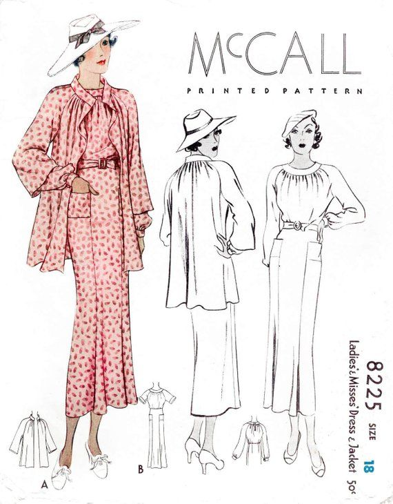 Vintage Sewing Pattern 1930s 30s Dress In 2 Styles And Jacket Reproduction Raglan Sleeves Shirring Detail Bust 36 1930 Vintage Sewing Patterns Vintage Sewing Retro Sewing Patterns