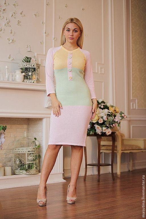 """Купить Платье """"Лайт"""" - бледно-розовый, летнее платье, хлопковое платье, вязаное платье"""