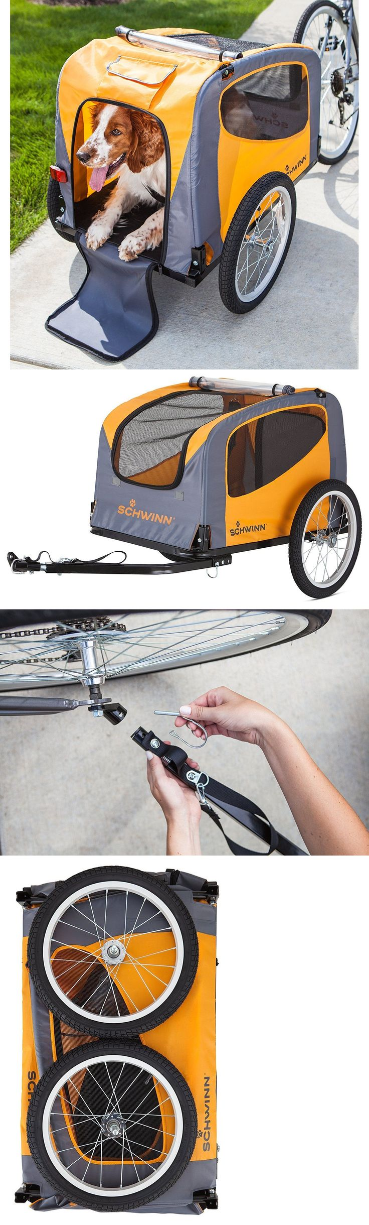 Bike Baskets and Trailers 46453: Orange 1 Pet Bicycle Trailer 16In Tire Weather Screen Cover Folding Dog Carrier -> BUY IT NOW ONLY: $155.37 on eBay!