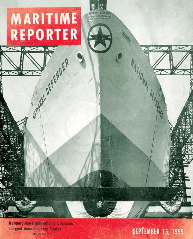 Cover of the magazine Maritime Reporter depicting the tanker NATIONAL DEFENDER. / Εξώφυλλο του περιοδικού Maritime Reporter που απεικονίζει το ελληνόκτητο NATIONAL DEFENDER.