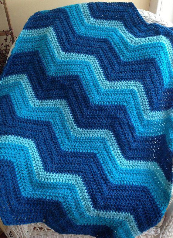 New Chevron Zig Zag Ripple Baby Blanket Afghan Wrap