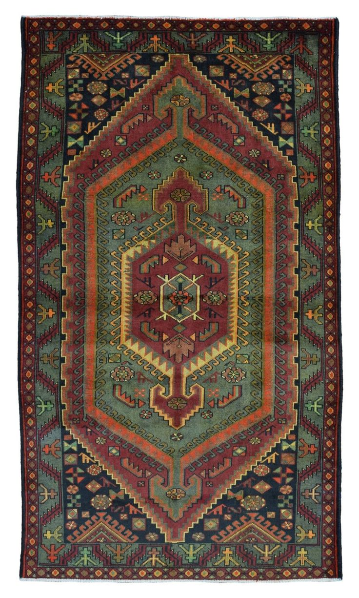 Semi-Antique Green, Navy and Red Persian Hamadan Rug 4'5X7'7