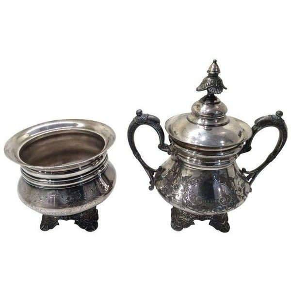 Victorian Era Quadruple Plated Silver Pieces - A Pair ($115) ❤ liked on Polyvore featuring home, kitchen & dining, serveware, coffee & tea service, silver plated plates, silver plate sugar bowl, lidded bowl, silver plate and victorian silver plate