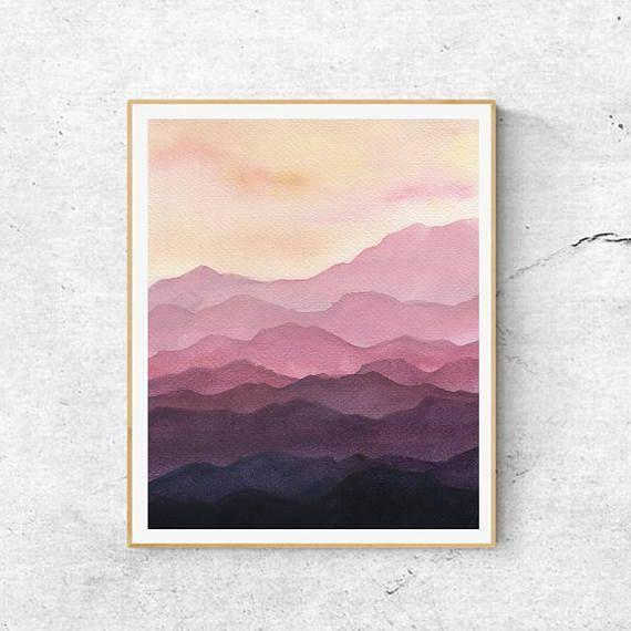 Fine Art Prints Zeitgenossische Kunst Aquarell Berge Malerei