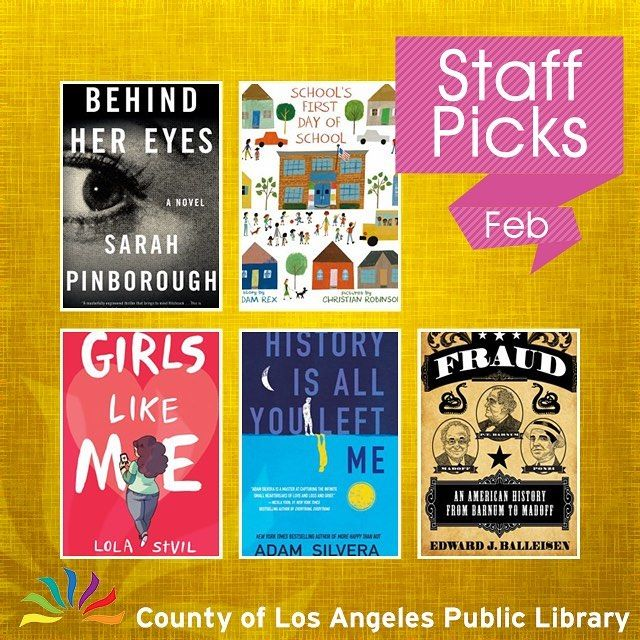What should you read next? Our Collection Development staff has some suggestions. Highlights include a great picture book about first day jitters a teen fiction story about a young man who befriends his lost loves ex-boyfriend and questions the meaning of life and love and the history of fraud from P. T. Barnum to Bernie Madoff. #lacountylibrary #lacounty #library #reading #books