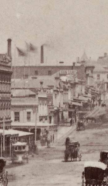 Charles Nettleton Bourke Street Melbourne c.1880  Charles Nettleton born England 1825,  arrived Australia 1854, died 1902 Bourke Street Melbourne, looking west  from Swanston Street, showing  south side of the street c.1880 albumen silver photograph