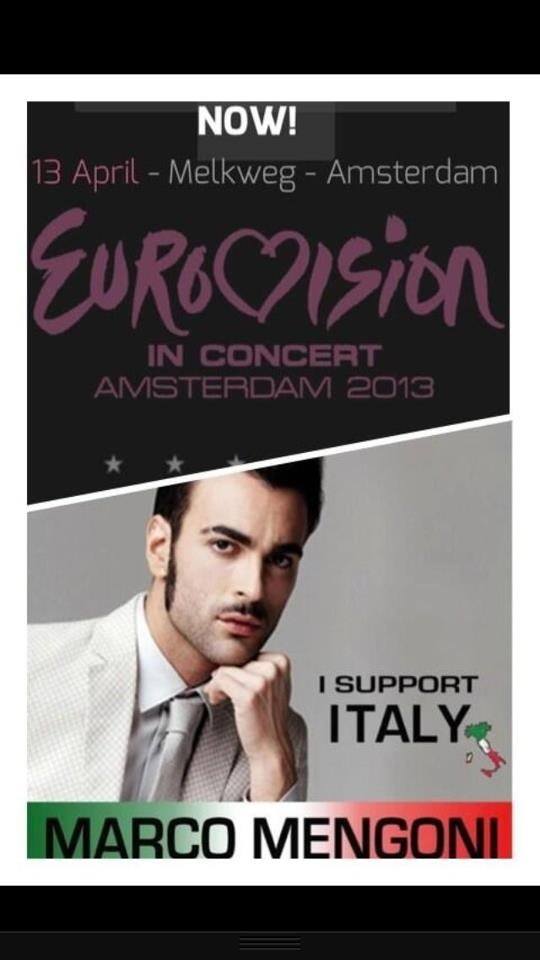 13 April - Eurovision in concert, Amsterdam 2013   I SUPPORT ITALY, I SUPPORT Marco Mengoni  Made by a Marco Mengoni fan! Countdown has started: only 13 days to go! @mengonimarco #ESC