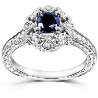 Shop for Annello by Kobelli 14k White Gold Round-cut Blue Sapphire and Diamond Vintage Engagement Ring. Get free delivery at Overstock.com - Your Online Jewelry Destination! Get 5% in rewards with Club O!