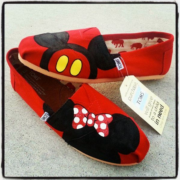 Minnie and Mickey Mouse Disney shoes perfect for your Summer Trip to Disneyland. $75.00, via Etsy.