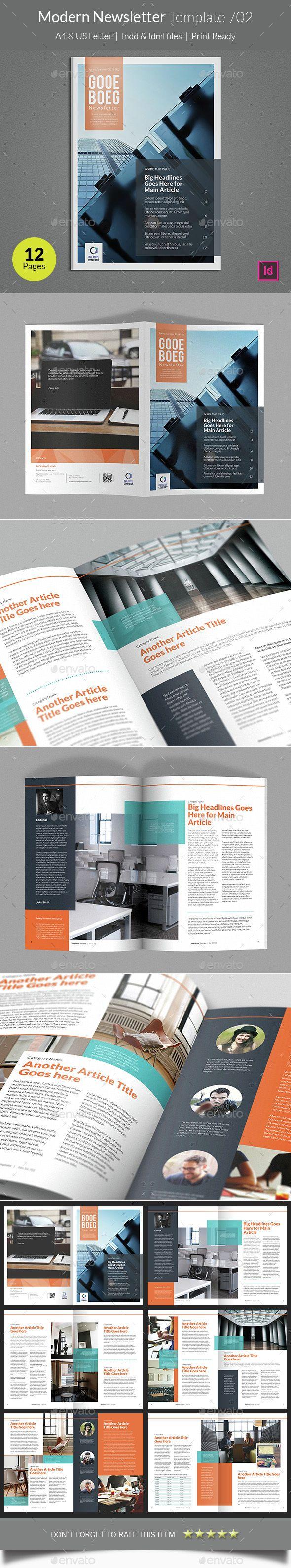 Modern Newsletter Template InDesign INDD. Download here: http://graphicriver.net/item/modern-newsletter-template-v02/14574840?ref=ksioks