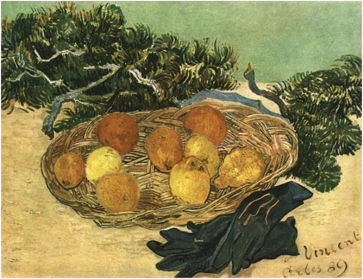 Still Life with Oranges, Lemons and Blue Gloves by Van Gogh  Painting, Oil on Canvas  Arles: January, 1889