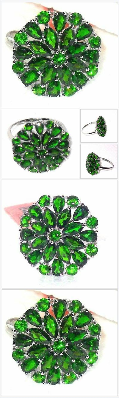 Russian Chrome Diopside ring 6.00 ctw size 9 Sterling USA Seller  #ebay http://stores.ebay.com/JEWELRY-AND-GIFTS-BY-ALICE-AND-ANN