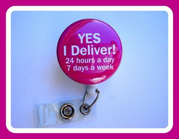 Badge Holder Retractable - OB GYN doctor nurse - Yes I Deliver - dark pink white button badge reel - labor & delivery Nurse gift Rn on Etsy, $7.25