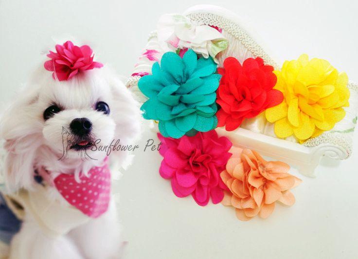 Товары для домашних животных ручной дизайнер стрижка собак волос луки собачка Pet подарки двойной слой шифона стерео розовыми цветами клип