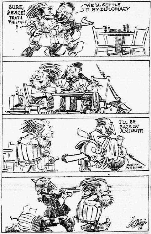 """Russia in Revolution on Twitter: """"Nov 28th 1917: """"Russia-Germany peace negotiations"""" (US cartoon). https://t.co/UIIh4oPCc5"""""""