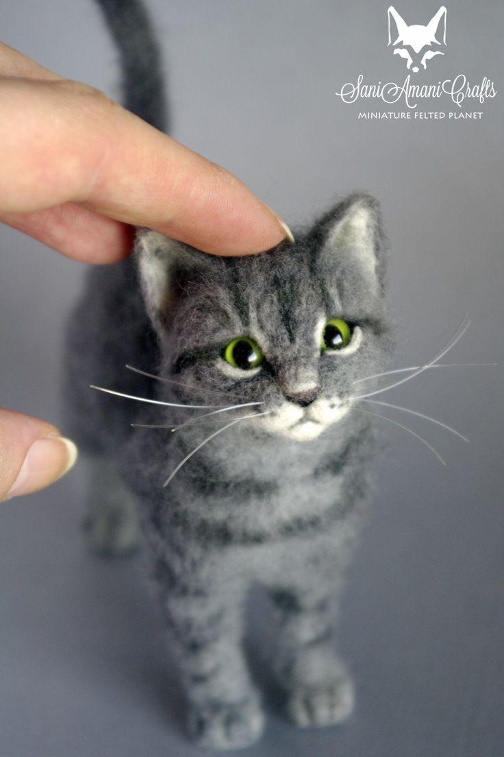 needle felted grey tabby cat miniature