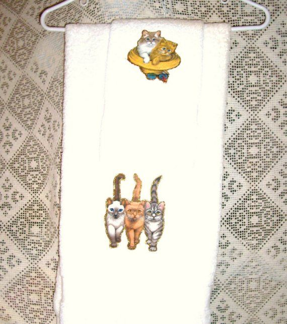 Trio of Beach Kitty Cats  Bath Hand Towel Set 2 pieces OOAK