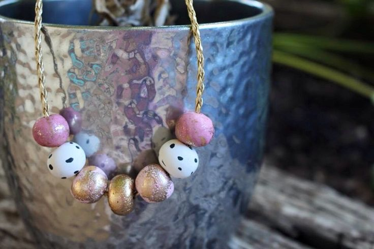 Rose and Baby Pink, Gold and Dalmation Hand Rolled Polymer Clay Necklace on Gold Braid by CandyMintDesigns on Etsy