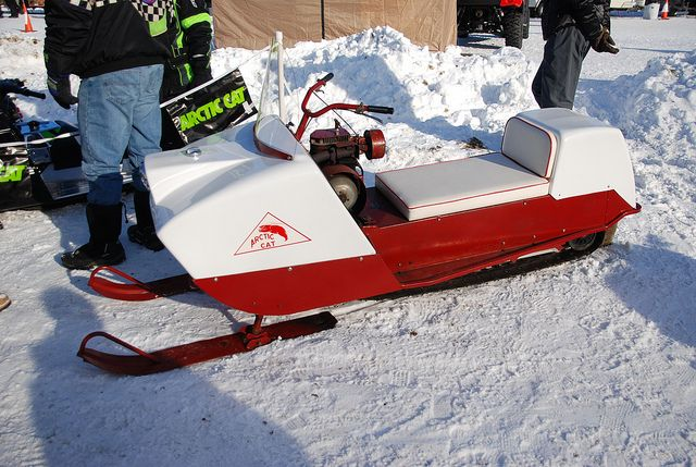 Mid 60's Arctic Cat Vintage Snowmobiles at Tip-Up Town, Houghton Lake, MI 1-21-2012 by Corvair Owner, via Flickr