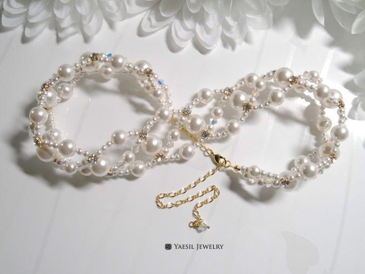 Bridal Choker Necklace, Triple Strand White Pearl Choker, Wedding Choker, Gift for Bride, Swarovski Crystal Pearls by YaesilJewelry on Etsy