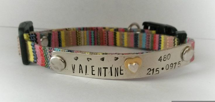 Cat collar - small dog collar - breakaway collar - pet collar - adjustable pet collar - customized cat or puppy collar - whimsical pet id by puppypawsandkisses on Etsy