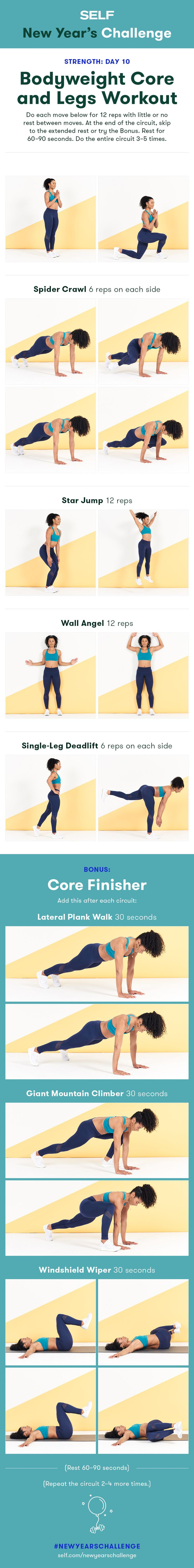 Welcome to our #NewYearsChallenge! Try this no-equipment core and legs workout for women with star jumps and deadlifts to strengthen your abs and glutes!