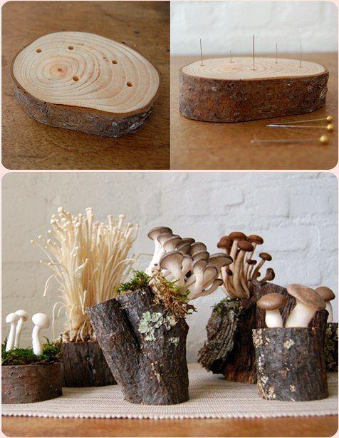 mushroom moss woodland centerpieces