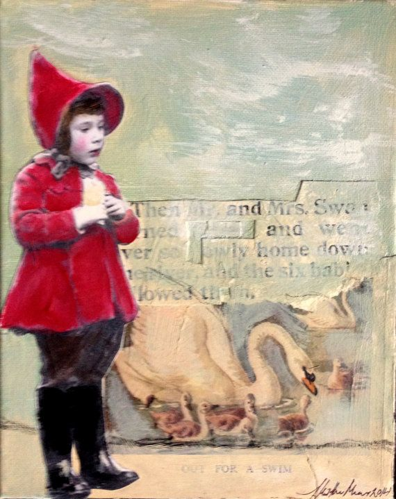 Little Red and the Swans vintage child mixed media by MaudstarrArt
