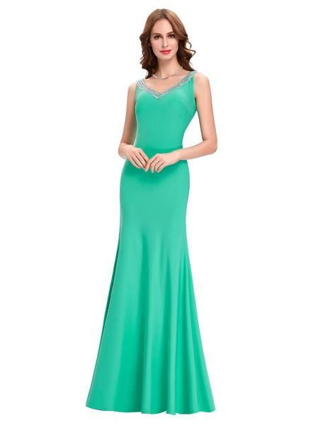 Elegant Green Long Evening Dresses Purple Black Blue Red Robes De Soiree Longue…