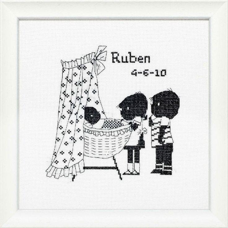 Geboortetegel borduren Jip & Janneke borduurpakket