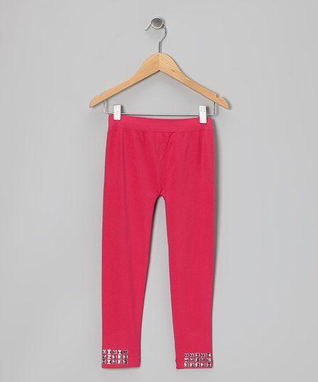 Fuchsia Stud Leggings - Girls