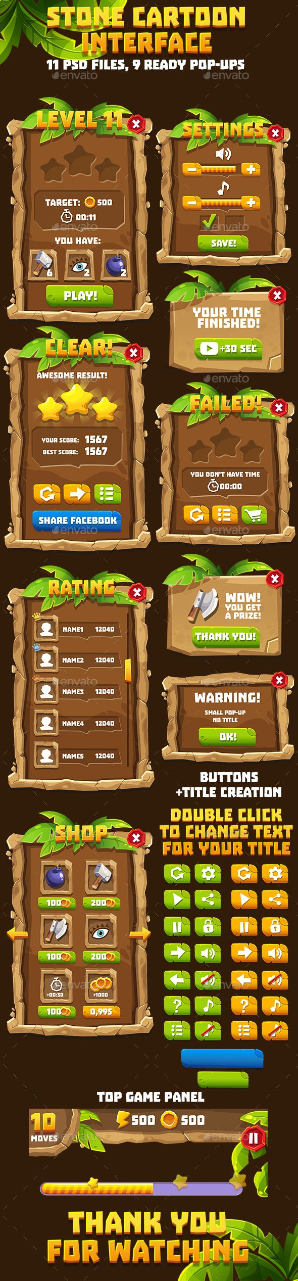 Stone Age Game Interface Pack — Photoshop PSD #Wooden Gui #interface • Download ➝ https://graphicriver.net/item/stone-age-game-interface-pack/19416285?ref=pxcr