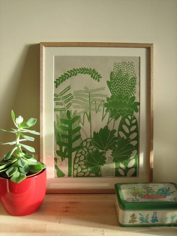 Botanical Screen print by LouiseSmurthwaite on Etsy