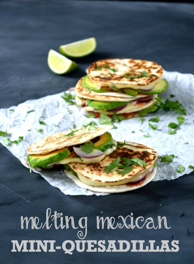 Melting Mexican Mini-Quesadillas from The Veg Space blog - speedy and delicious bite-sized lunchtime treats with cheese, avocado, red onion, tomato salsa and fresh coriander.