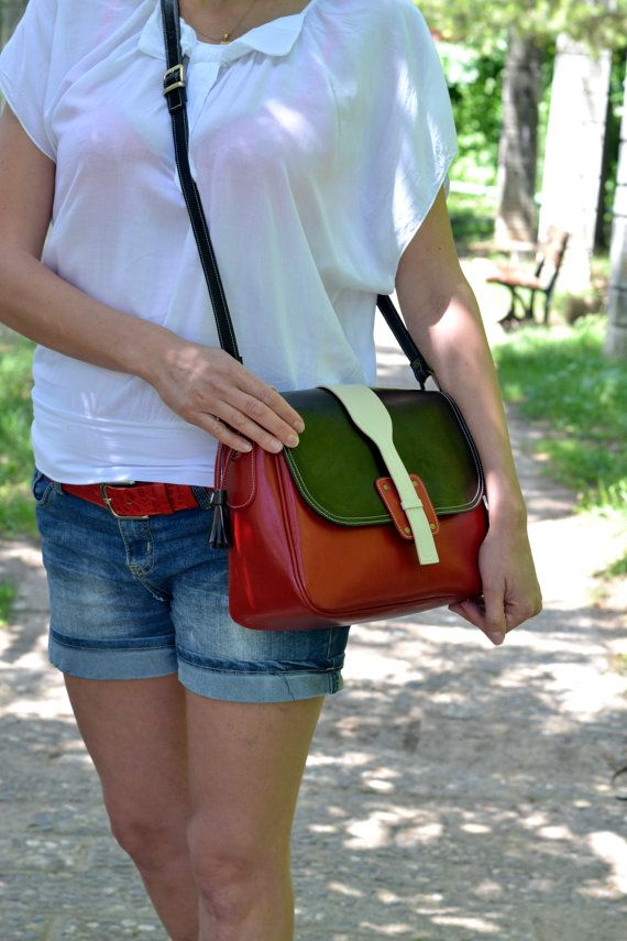 Messenger Leather Handmade Bag, Long Strap Leather Handbag, Crossover Bag, Crossbody Leather Handbag,Red Leather Messenger