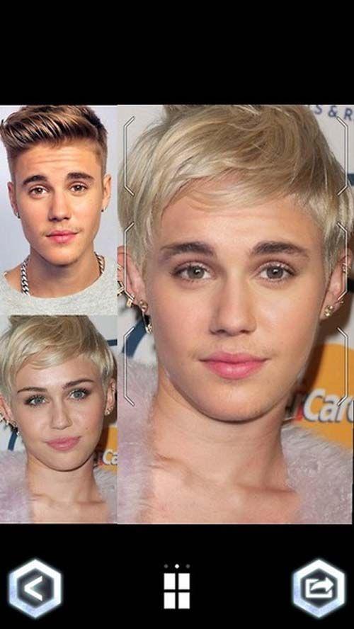 face fusion Justin Bieber & Miley Cyrus