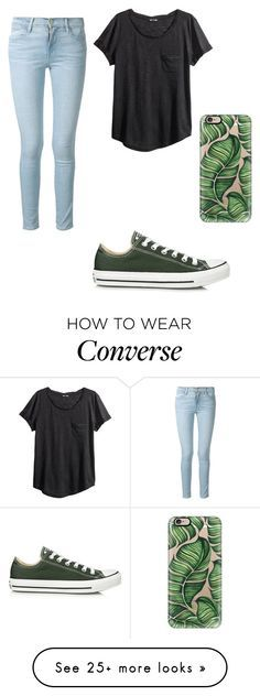 """Converse#128"" by irene-czernicki on Polyvore featuring Converse, Frame Denim, Casetify and H&M"