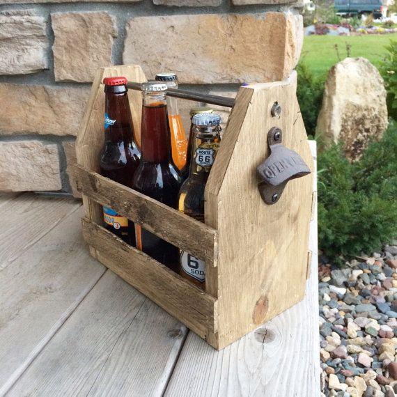 6 Pack Holder Beer Carrier Wood Beer Caddy Groomsmen