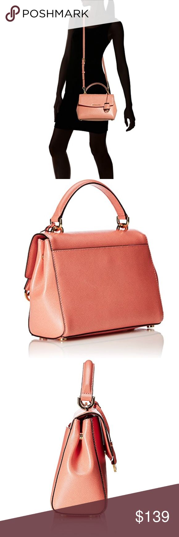 "Michael Kors Ava Small Top Handle Satchel Peach Saffiano leather with gold-tone hardware Small sized bag; 9-3/4"" W x 7-1/2"" H x 4"" D 4""L double handles; 19""L adjustable shoulder strap Magnetic closure; rear exterior snap pocket Interior features 1 zip pocket, 3 slip pockets, 1 cellphone pocket and key fob Michael Kors Bags Crossbody Bags"